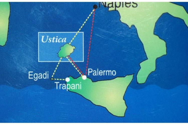 Mapa podróży z Sycylii na Ustice