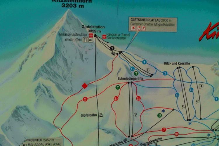 Mapka tras na lodowcu