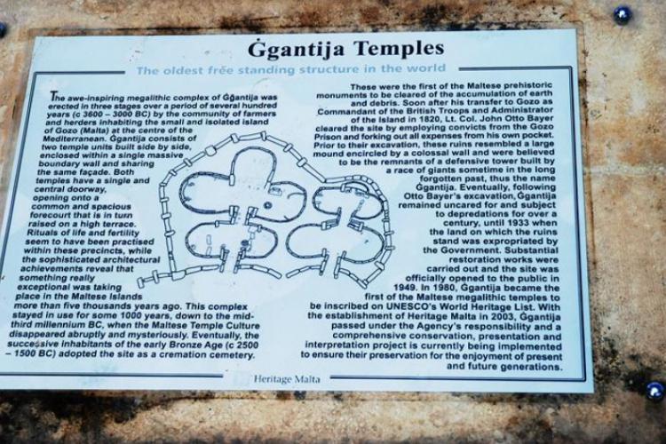 Tabloca opisujaca najstarszą świątynię na ziemi- Gozo Ggantija